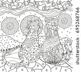 pattern with cats. zentangle.... | Shutterstock .eps vector #695268766