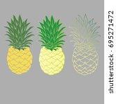 pineapples fruit   Shutterstock .eps vector #695271472