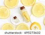 skin whitening homemade lemon... | Shutterstock . vector #695273632