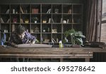 leather worker conduct thorough ... | Shutterstock . vector #695278642