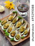 baked green mussels with garlic ... | Shutterstock . vector #695295088