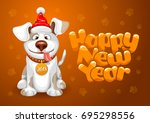 happy small dog in santa claus... | Shutterstock .eps vector #695298556