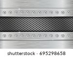 metal texture with brushed iron ... | Shutterstock .eps vector #695298658