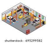 modern isometric car workshop... | Shutterstock .eps vector #695299582