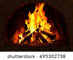Close Up Of Burning Firewood In ...