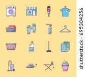 icon set laundry cleaning... | Shutterstock .eps vector #695304256