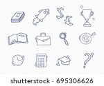 set of hand drawn school icons. | Shutterstock .eps vector #695306626