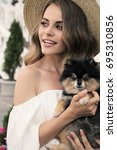 fashion outdoor photo of...   Shutterstock . vector #695310856