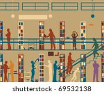 Editable vector silhouette of colorful people in a library - stock vector