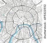 black and white vector city map ... | Shutterstock .eps vector #695323552