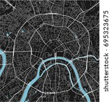 black and white vector city map ... | Shutterstock .eps vector #695323675