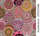 luxury oriental tile seamless... | Shutterstock .eps vector #695324386