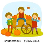 kids in a pumpkin patch during... | Shutterstock .eps vector #695326816