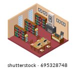 Modern Isometric Book Library...