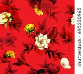 seamless floral pattern. roses  ... | Shutterstock .eps vector #695330965