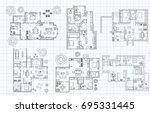 black and white floor plan... | Shutterstock .eps vector #695331445