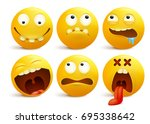 set of yellow smiley face... | Shutterstock .eps vector #695338642