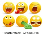 set of yellow smiley face... | Shutterstock .eps vector #695338648