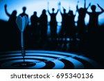 vintage tone  bullseye is a... | Shutterstock . vector #695340136