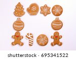 christmas cookies isolated on... | Shutterstock . vector #695341522