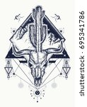 Dream cather tattoo and t-shirt design. Bull skull, cactus, mountains, sacred geometry t-shirt design