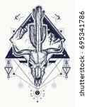 Dream cather tattoo and t-shirt design. Bull skull, cactus, mountains, sacred geometry. Psychodelic art t-shirt design