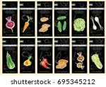 vegetable seeds packets... | Shutterstock .eps vector #695345212