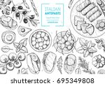 italian food top view. a set of ... | Shutterstock .eps vector #695349808