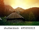 fog in mountains. fantasy and... | Shutterstock . vector #695353315