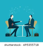 business meeting. two business... | Shutterstock .eps vector #695355718