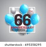 66th anniversary celebration...   Shutterstock .eps vector #695358295