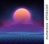 futuristic retro landscape of... | Shutterstock .eps vector #695361265
