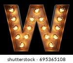 light bulb glowing letter... | Shutterstock . vector #695365108
