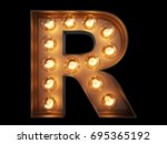 light bulb glowing letter... | Shutterstock . vector #695365192