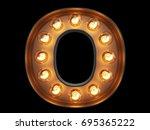 light bulb glowing letter... | Shutterstock . vector #695365222
