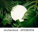 real leaves with white copy... | Shutterstock . vector #695383456