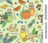 seamless pattern with bottles... | Shutterstock .eps vector #695384065