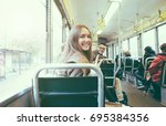 young people inside old style... | Shutterstock . vector #695384356