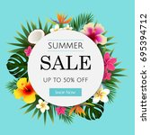 summer sale tropical banner ... | Shutterstock .eps vector #695394712