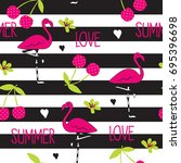seamless pattern with flamingo... | Shutterstock .eps vector #695396698