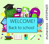 back to school background with... | Shutterstock .eps vector #695399605