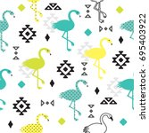 seamless pattern with flamingo... | Shutterstock .eps vector #695403922