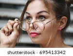 young beautiful hipster girl... | Shutterstock . vector #695413342