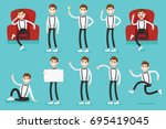 presentation set of a clerk guy ... | Shutterstock .eps vector #695419045