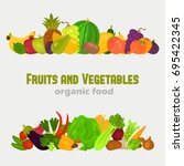 fruits and vegetables color... | Shutterstock .eps vector #695422345
