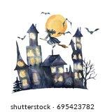 Watercolor Halloween Card. Hand ...