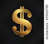 Golden Dollar Symbol. Gold...