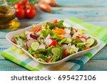 fresh salad with radish ... | Shutterstock . vector #695427106