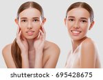 happy young woman face with... | Shutterstock . vector #695428675