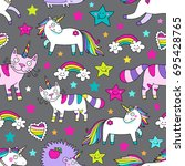 awesome cute seamless vector... | Shutterstock .eps vector #695428765
